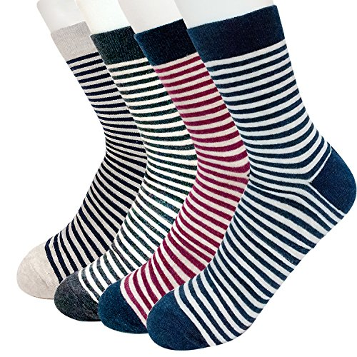 Men's Striped & Colorful Patterned Luxury Cotton Blended Dress Casual Socks - Calf Socks 4 Pack Collection (STR D) by Ksocks