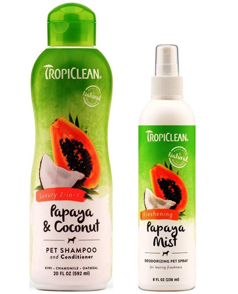 TropiClean Pet Grooming Bundle, 1 Each: Papaya & Coconut Luxury 2-in-1 Shampoo and Conditioner, and Freshening Papaya Mist Deoderizing Spray by TropiClean