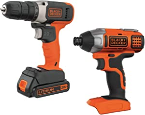 BLACK+DECKER 20V MAX Cordless Drill Combo Kit, 2-Tool (BD2KIT702IC)