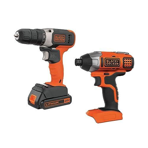 BLACK DECKER 20V MAX Cordless Drill Combo Kit, 2-Tool BD2KIT702IC