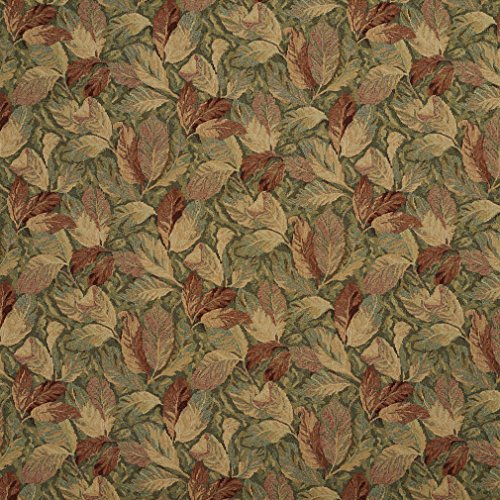 F935 Burgundy and Green Floral Leaves Tapestry Upholstery Fabric by The Yard