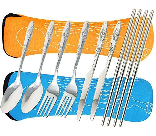 8 Pieces Flatware Sets Knife, Fork, Spoon, Chopsticks, fibound 2 Pack Rustproof Stainless Steel Tableware Dinnerware with Carrying Case (Blue&Orange)