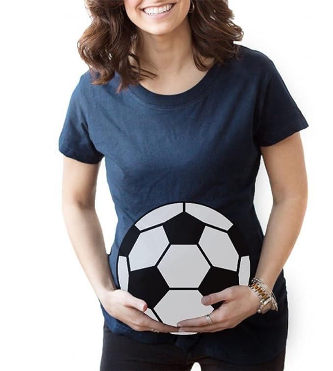 Keephen Las Mujeres Embarazadas Forman la Camiseta de Fútbol Impresa Linda de la Camiseta del Fútbol: Amazon.es: Ropa y accesorios