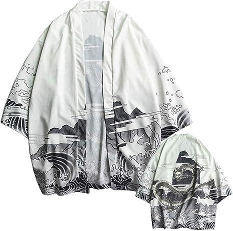 Wawer - Cardigan Kimono para Hombre, Camisa Ancha, Camisa para Hombre, Camisa de Manga Larga, Camisa para Hombre, Hombre, Blanco, Extra-Large: Amazon.es: Deportes y aire libre