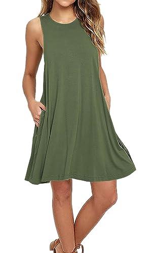 Aitos Femmes Robe Ete Courte Sans Manches Coton Ample Mode Trapèze Lâche Liquette Uni Original Fluide Tunique Casual Avec Poche Vert 44-46/ XL