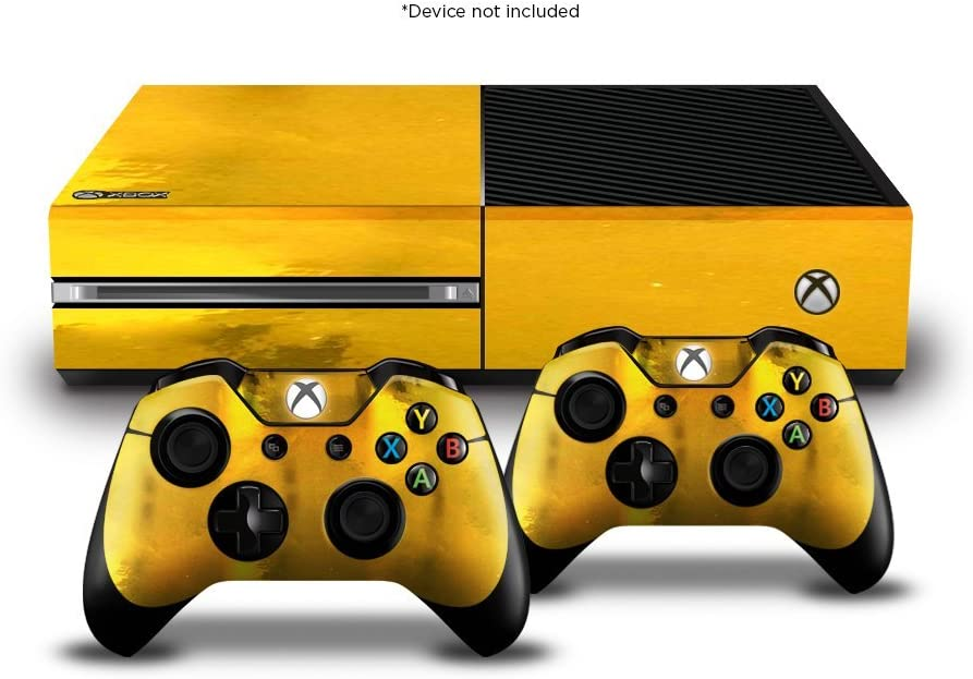 Official Xbox One Easy Wrap (Device NOT Included, Does NOT FIT Xbox One S) Vinyl Decal Protective Sticker for Xbox One Console and Controllers (Pack of 1, Gold Chrome)