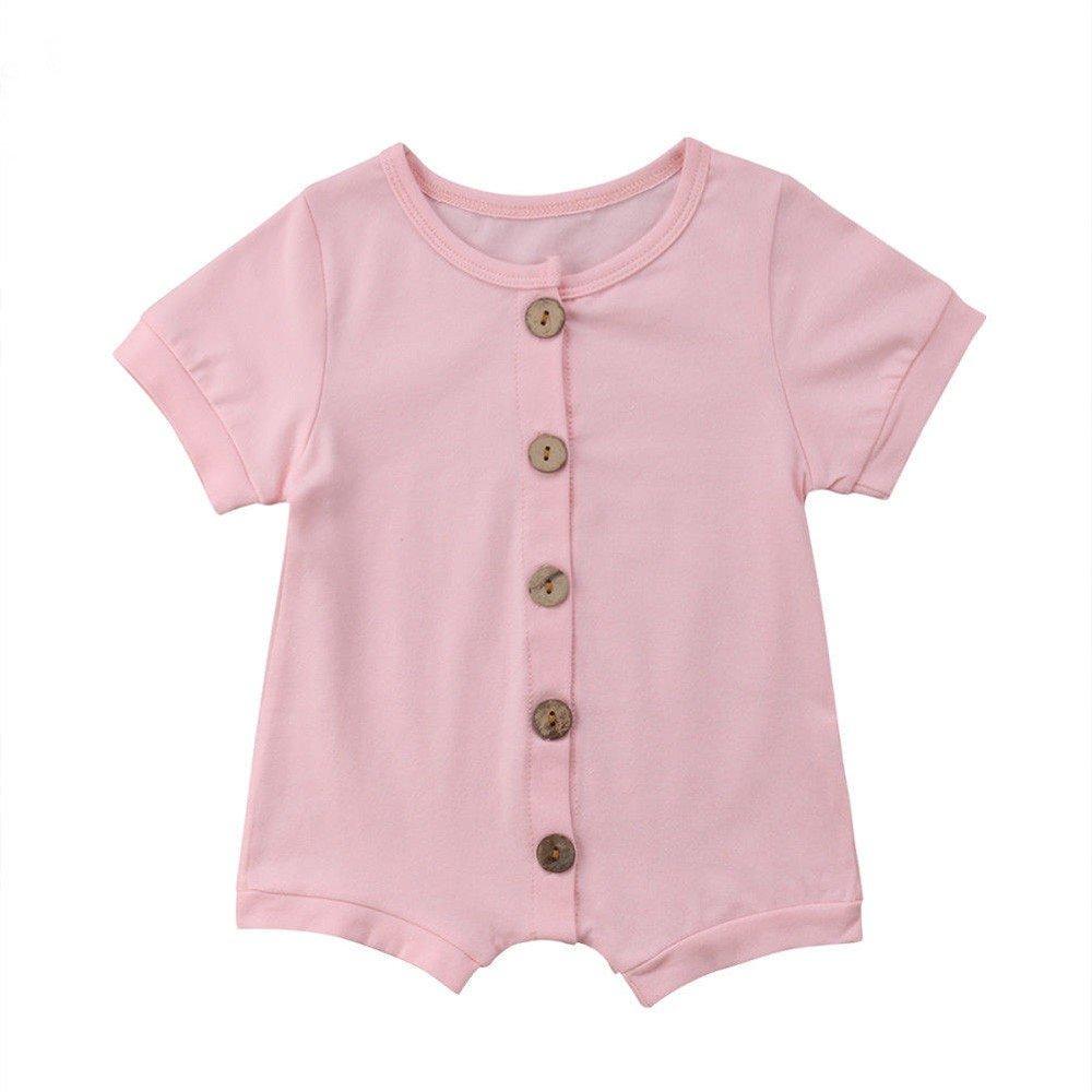 Mono Bebé, LANSKIRT Recién Nacido Bebé Niño Niña Casual Color Sólido de Manga Corta Botón Mono del Mameluco Mono Ropa: Amazon.es: Ropa y accesorios