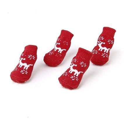 Aofocy Calcetines para Perros Calcetines para Perros 1 Pierna Juego de 4 Piezas Antideslizante Navidad (