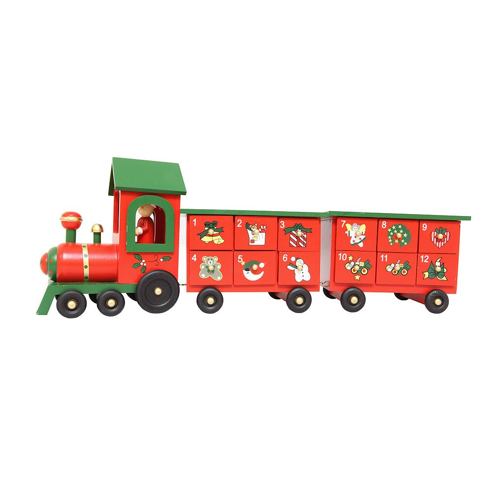 WOODEN ADVENT TRAIN WITH TWO CARRIAGES - CHRISTMAS TOY/DECORATION Premier