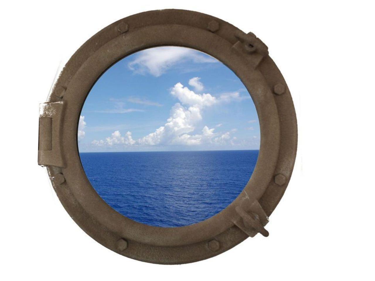 Hampton Nautical Sandy Shore Decorative Ship Porthole Window, 20''