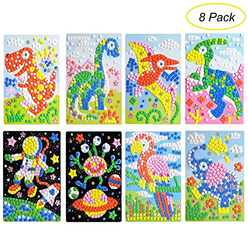 CCINEE Mosaic Sticker DIY Handmade Art Crafts Kits Christmas New Year Gifts for Kids Elephant Parrot Astronaut Dinosaurs 8 Packs -