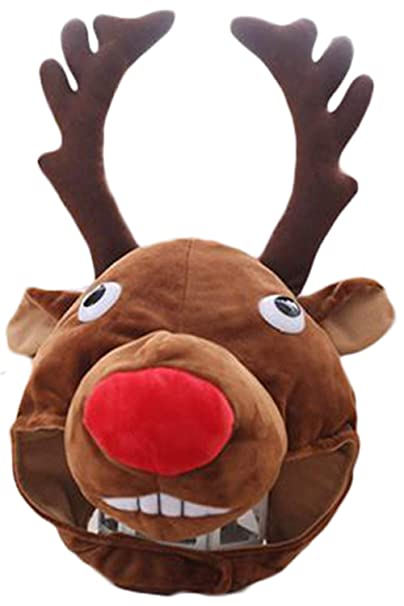 70400193e6239 Amazon.com  Hacos Christmas Reindeer Hat Antler Headgear Elk Cap Winter  Animals Soft Fluffy Plush Caps Adult Unisex  Clothing