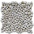 Travertine Mix Giallo River Rocks Pebble Stone Mosaic Tile Tumbled