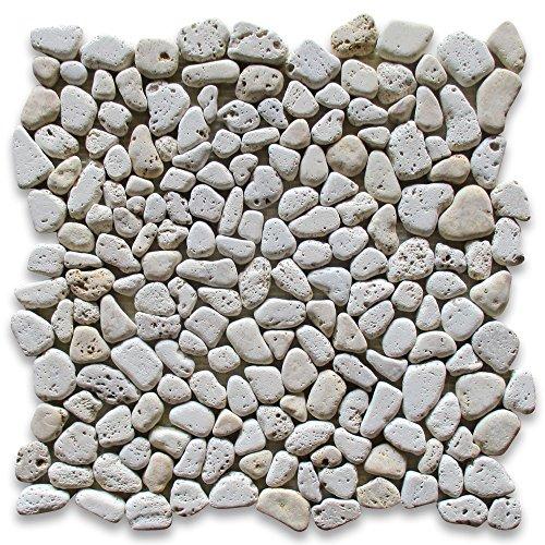 Travertine Mix Giallo River Rocks Pebble Stone Mosaic Tile Tumbled