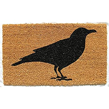 Gifted Living Crow Coir Welcome Mat , Black