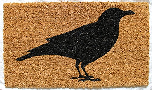 Evergreen Flag Gifted Living Crow Coir Welcome Mat, Black