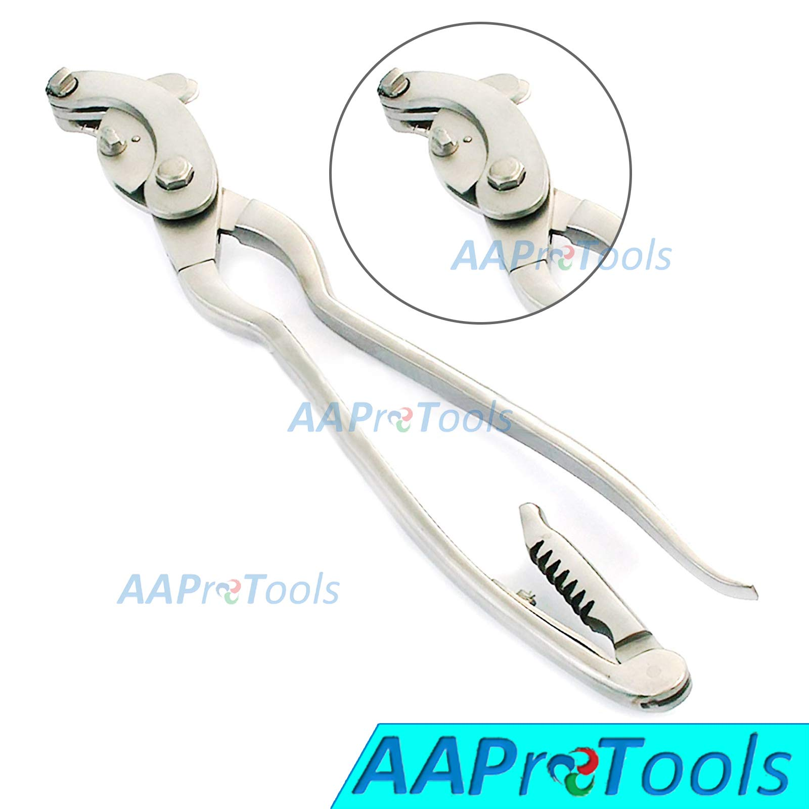 AAProTools Serra Emasculator Bent Handle with Ratchet Triple Crush 14'' Stainless Steel Veterinary