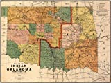 MAP of the Oklahoma & Southwest United States INDIAN Territories circa 1892 - measures 24'' high x 32'' wide (610mm high x 813mm wide)