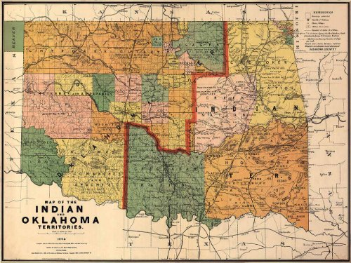 MAP of the Oklahoma & Southwest United States INDIAN Territories circa 1892 - measures 24