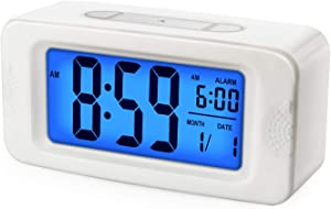Digital Alarm Clocks - Plumeet Kids Clock Light Up All Night, 4'' LCD Display Showing Time Alarm Date - Bedside Clocks with Snooze for Bedroom Kitchen Office Battery Operated (White)