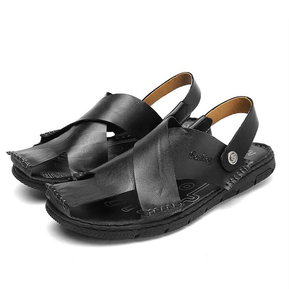 ZJM-Sandale ZJM- geschlossen-Zehe Sommer-Mann-Pantoffel-Sandale-Strand-Schuhe geschlossen-Zehe ZJM- entwarf weiches echtes Leder-rutschfeste Fischer Schuhes Vintage (Farbe : Gelb, größe : 38) Schwarz 73fe13