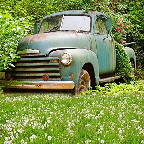 Vintage Car Clubs - Laeacco 8x8ft Spring Photography Background Retro Car Outdoor Vintage Background Dandelion Florets Grassland Green Trees Shabby Painted Car Backdrops Portraits Shooting Video Studio