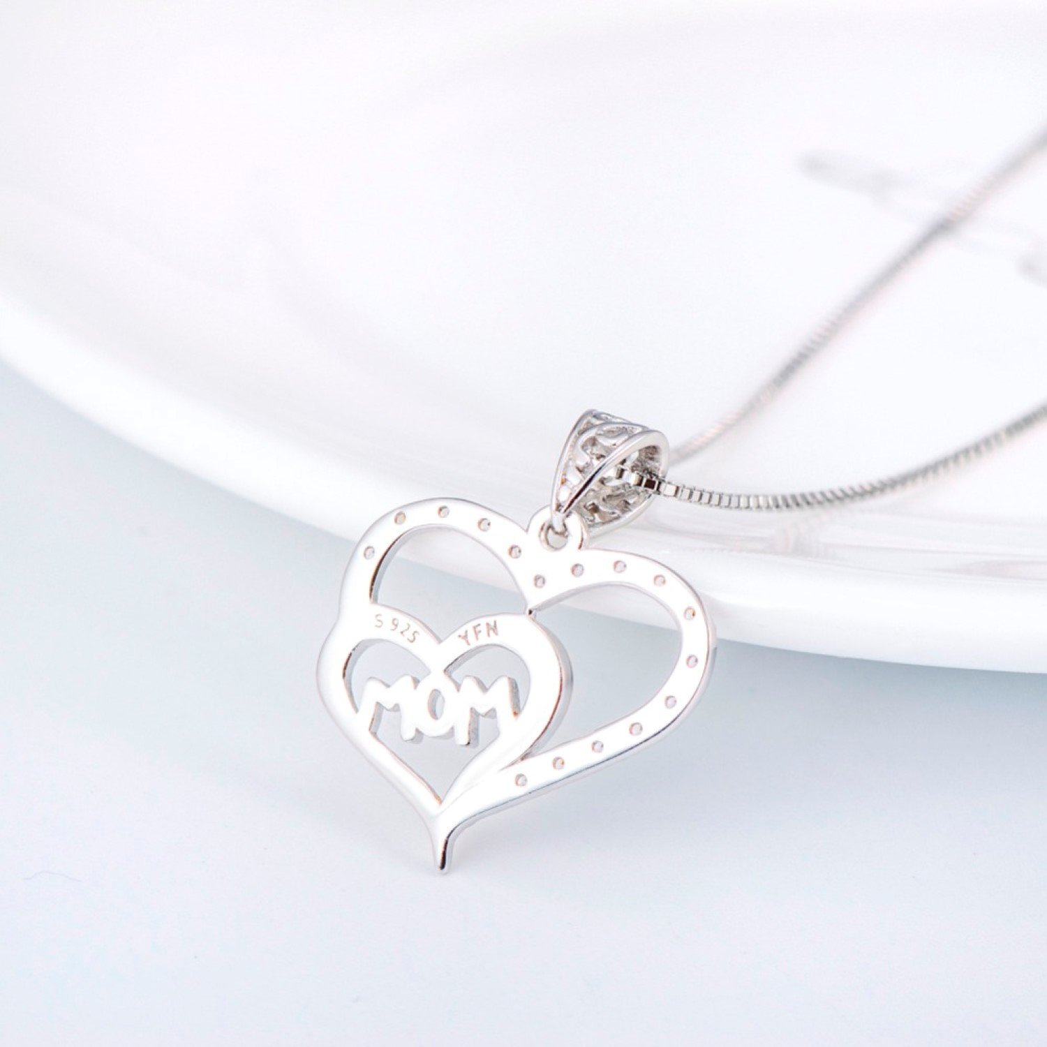CS-DB Womens Necklaces by Silver Pendant Double Love Heart With Letter Mom Crystal Gold Girls