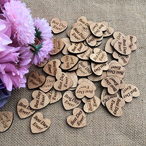 LANGUGU 100Pcs Wood Engraved Love Heart Confetti Decor Rustic Wedding Table Scatter Decoration Bridal shower, Events,Party Embellishments DIY Crafts (Best Day Ever)