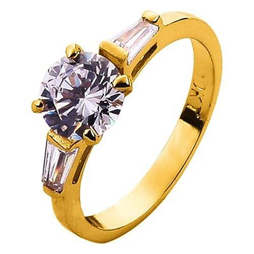 Bañado en oro de 10Q, 4 Juego prong, Diamante CZ redondo de 8mm 3ct
