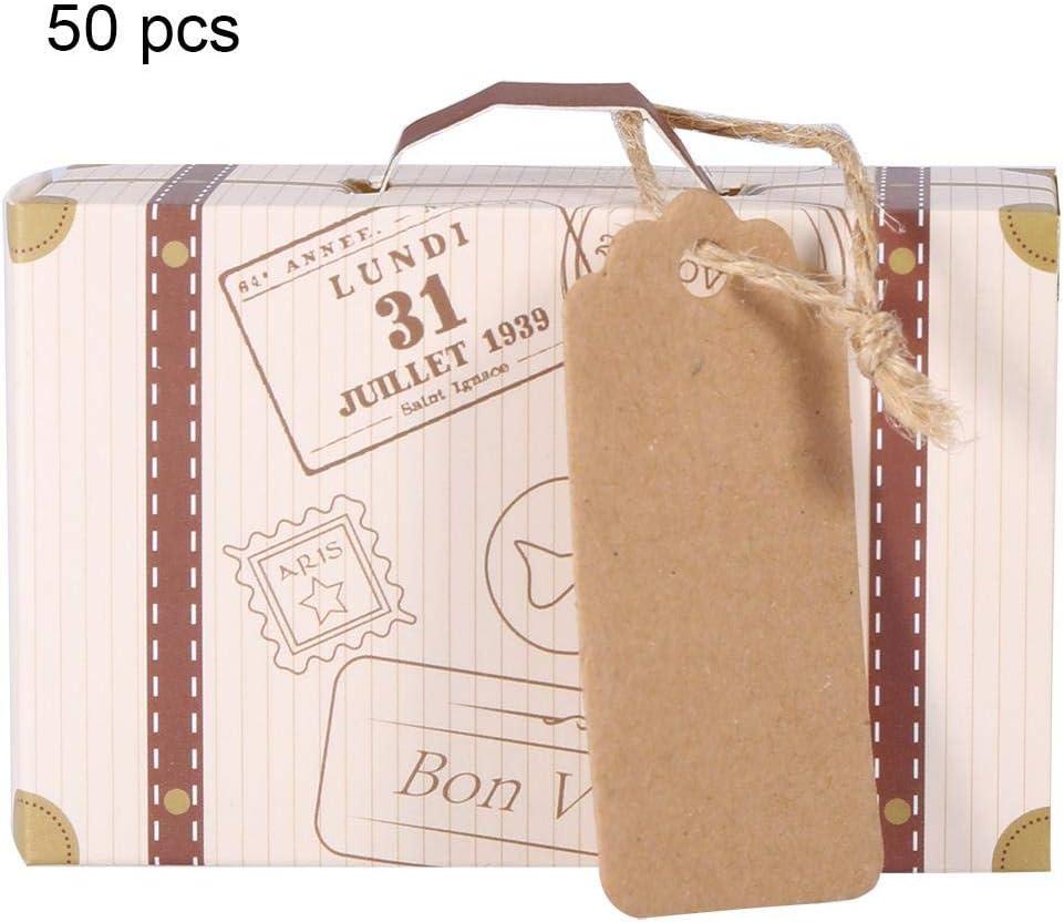 Alinory Candy Box, 50pcs/Set Novela Mini Maleta Elegante Caja de Regalo de Dulces de Cartón Portátil Boda Fiesta Cumpleaños