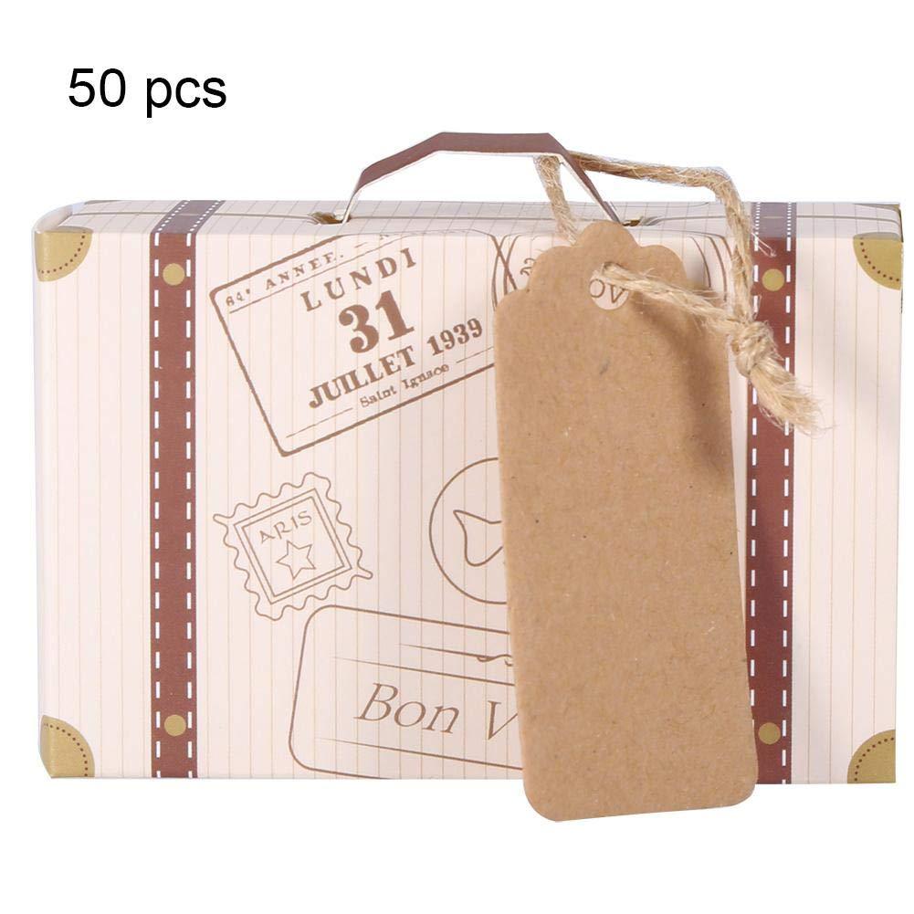 Pasamer 50pcs/Set Novela Mini Maleta Elegante Cartón Portátil Caja de Regalo de Dulces Suministros de Cumpleaños para Fiesta de Boda
