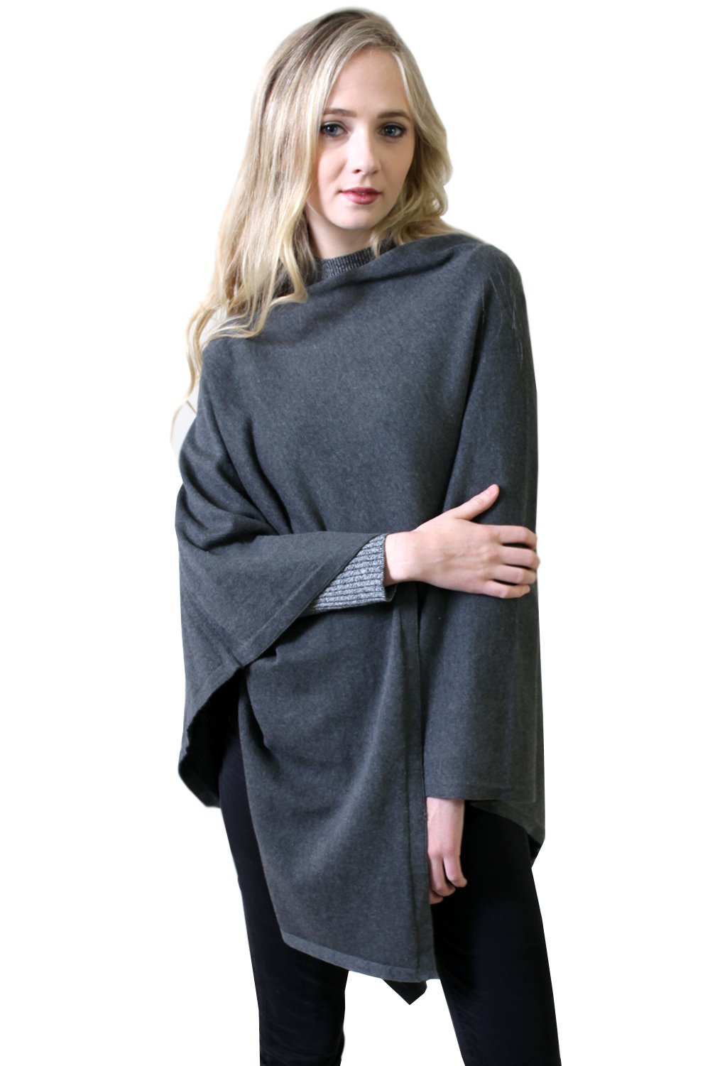 Viverano Pure Organic Cotton Knit 5-Way Poncho Wrap, Cardigan & Sweater (Charcoal)