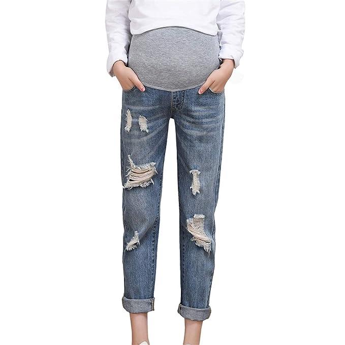 6a97d825d LHWY Premamá Invierno Leggins Abrigos Mujer Embarazada Pantalones Vaqueros  Rotos Pantalones De Maternidad PantalóN De EnfermeríA Prop Belly Legging   ...
