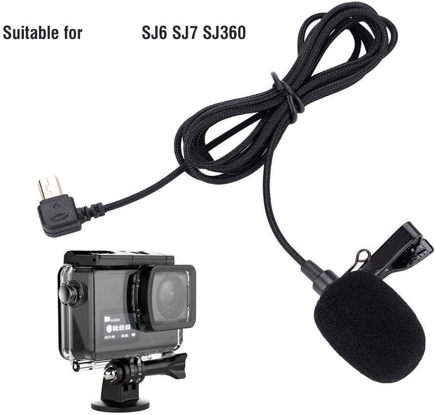 Taidda Lavalier Microphone Lightweight 1.5m Portable Clip On Mic Microphone for SJ6 SJ7 SJ360 Action Camera for Making Recording More Convenient