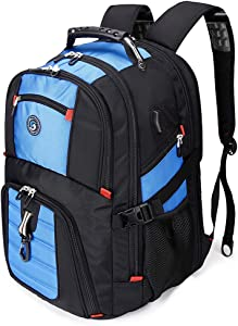 SOLDIERKNIFE Large Durable 50L Travel Laptop Backpack School Backpack Travel Backpack College Bookbag with USB Charging Port fit 17 Inch Laptops for Men Women Including Lock Blue