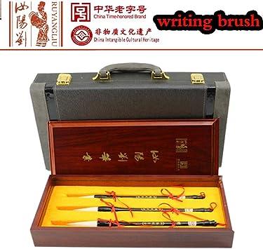 La Caja China Cepillo de Escritura de la Pluma de la caligrafía del Kanji Regalo Cepillo Cepillos Caja de Regalo de Gama Alta 3 Piezas: Amazon.es: Electrónica