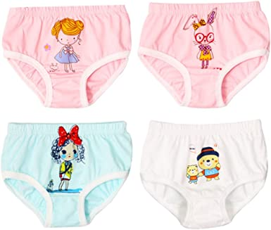 JIEYA Baby Girls Boys 4-Pack Cotton Printed Underwear Bloomers