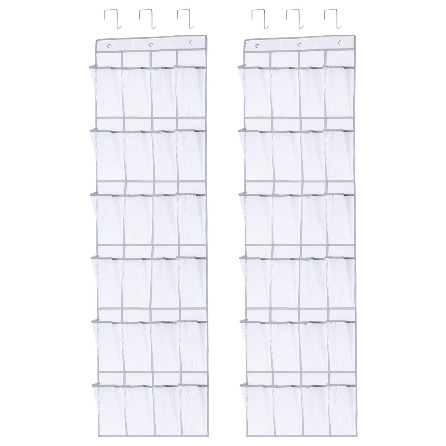 Gladget 2 Pack 24 Pockets Over The Door Shoes Organizer Shoe Holder Rack with Hanging Hooks for Bedroom Closet Dormitory Kitchen (Medium, White) by Gladget