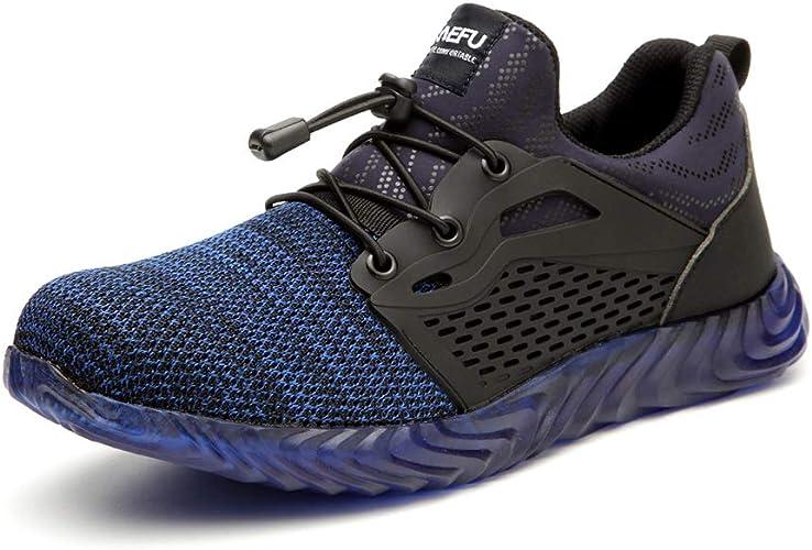 Zapatos de Seguridad Hombres con Punta de Acero Zapatillas de Trabajo Calzado Ultra Liviano Reflectivo Transpirable Ligeros Negro Camo 36-45 BL44: Amazon.es: Zapatos y complementos