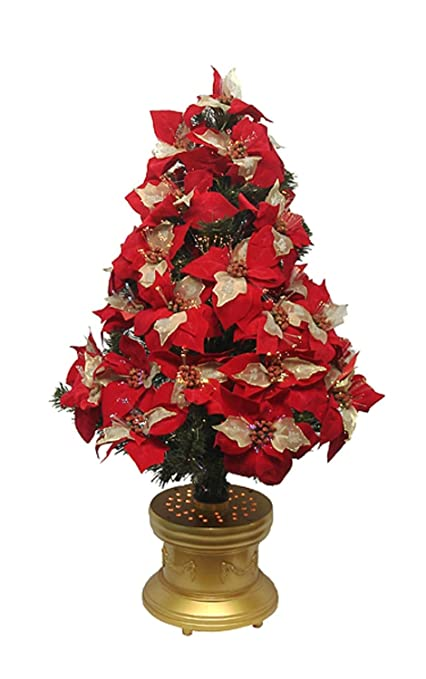 Amazon.com: National Tree Company 3' Lighted Fiber Optic Red & Gold ...