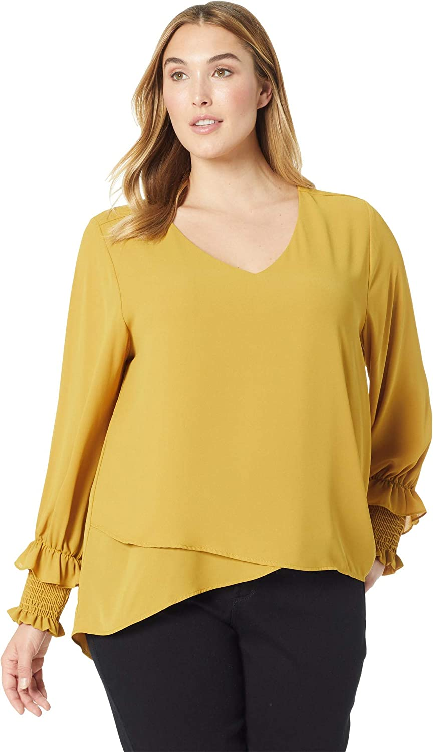 d528be63299 Karen Kane Plus Womens Plus Size Smocked Sleeve Crossover Top at Amazon Women s  Clothing store