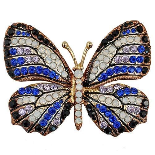 - Reizteko Winged Butterfly Crystal Rhinestones Brooch Pin (Black Blue)