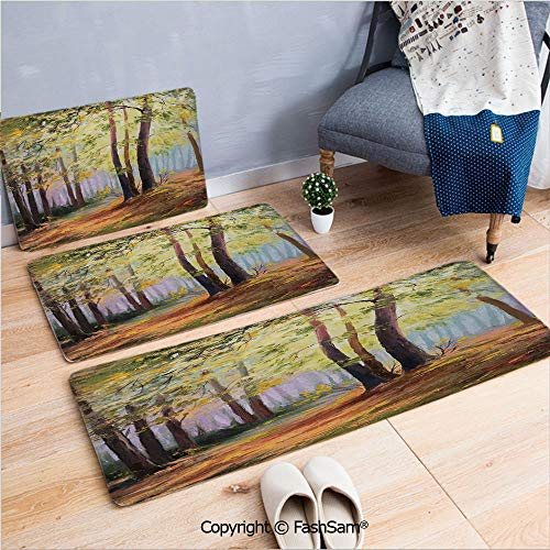 3 Piece Fashion Flannel Door Mat Carpet Image of Spring Landscape in The Forest with Falling Leaves and Various Trees Mod Print for Door Rugs Living Room(W15.7xL23.6 by W19.6xL31.5 by W19.6xL59)