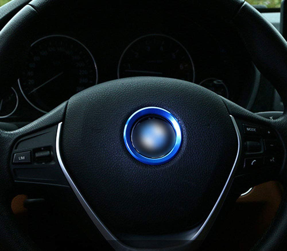 AUTO Pro for BMW Steering Wheel Standard Decorative Ring 2 Series 3 Series gt5 Series x1x3x4 New x5x6 Modified Aluminum Alloy Material Special car Blue