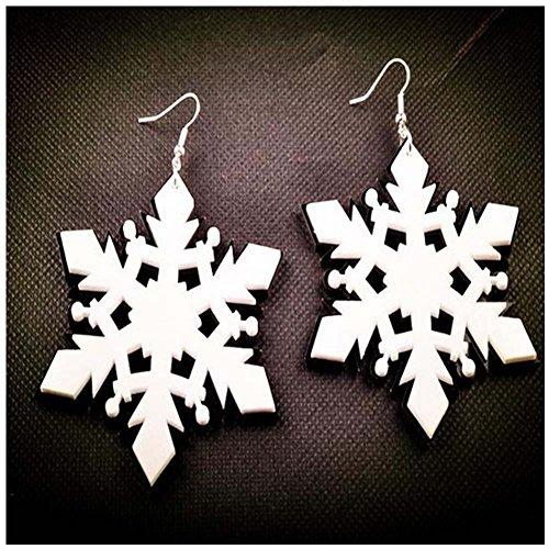 Elakaka Women's Halloween Christmas Stage Large Exaggerated Acrylic Snowflake Earrings (Katy Perry Costumes Australia)