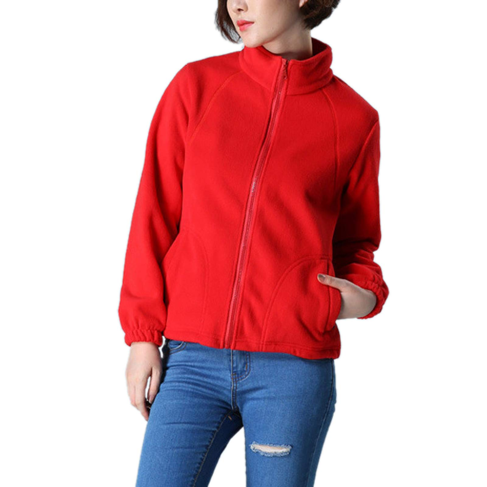 ZumZup Womens Fleece Jacket Full Zip Stand Collar Sportwear Top Outwear Red2 Bust 42.5''(Asie 2XL) by ZumZup