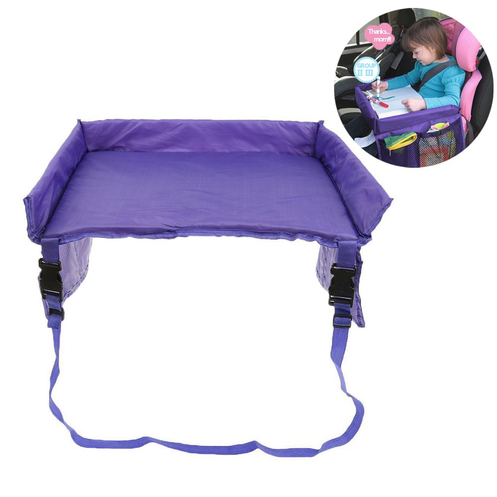 Kids Car Tray Waterproof Play Travel Tray Table Adjustable Drawing Board Buggy Pushchair Childrens Car Trays With Pockets Purple Cherry Juilt