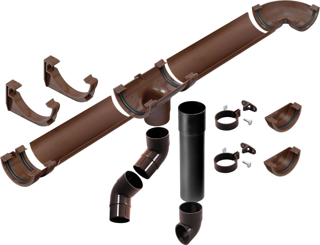 O'SO EEZY 75mm half round Miniline complete Shed Guttering and Downpipe kit Black (up to 4 metre - 12 feet) O'SO EEZY EP-SHKT1b