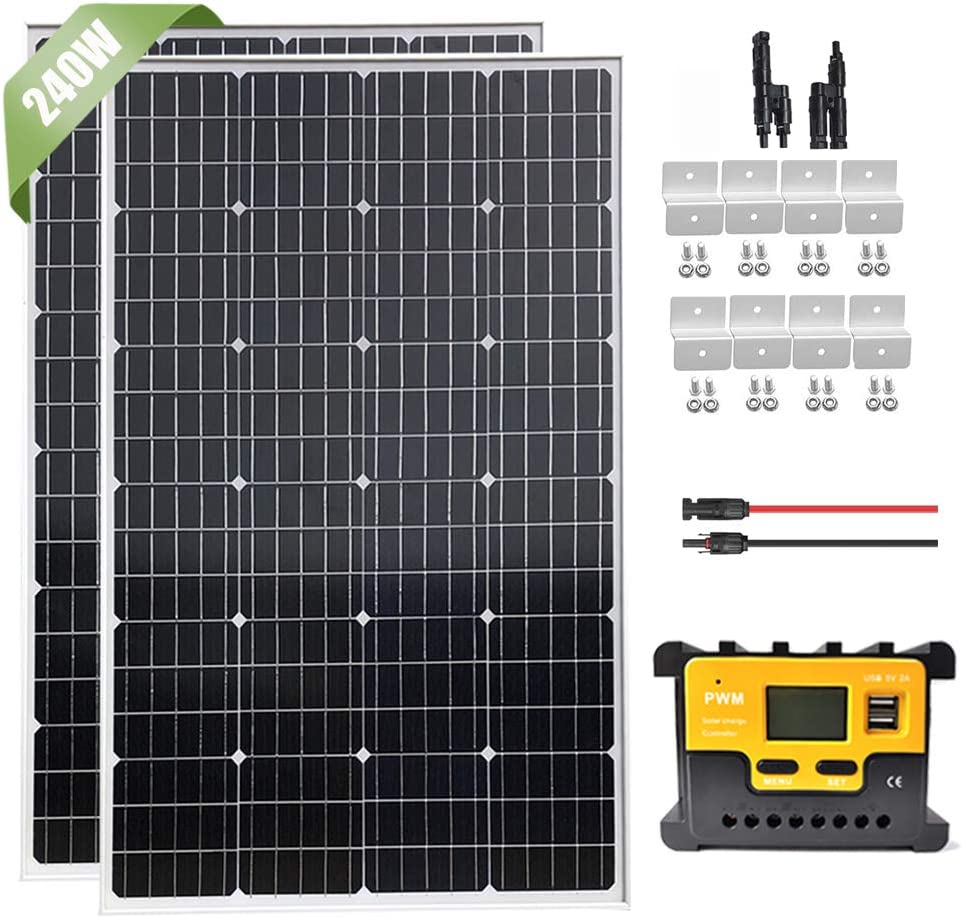 240W Solar Panel Starter Kit with 20A LCD Charge Controller & Cable & Z Brackets & Connector, 2pcs 120W Monocrystalline Solar Panel 12V 24V Battery Charger