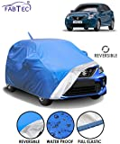 Fabtec Waterproof Reversible Car Body Cover for Maruti Baleno (2015-2019) with Mirror Antenna Pocket (Full Sized, Triple Stitched, Fully Elastic) (Blue & Silver)